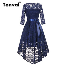 Tonval ヴィンテージネイビーブルーレースローブドレス女性 2/3 スリーブ高低裾エレガントなボディコンドレスパーティーミディ秋ドレス