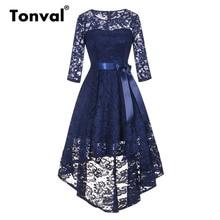 Tonval Vintage Lacivert Dantel Elbise elbise Kadın 2/3 Kollu Yüksek Düşük Hem Zarif Elbiseler Parti Midi Sonbahar Elbise