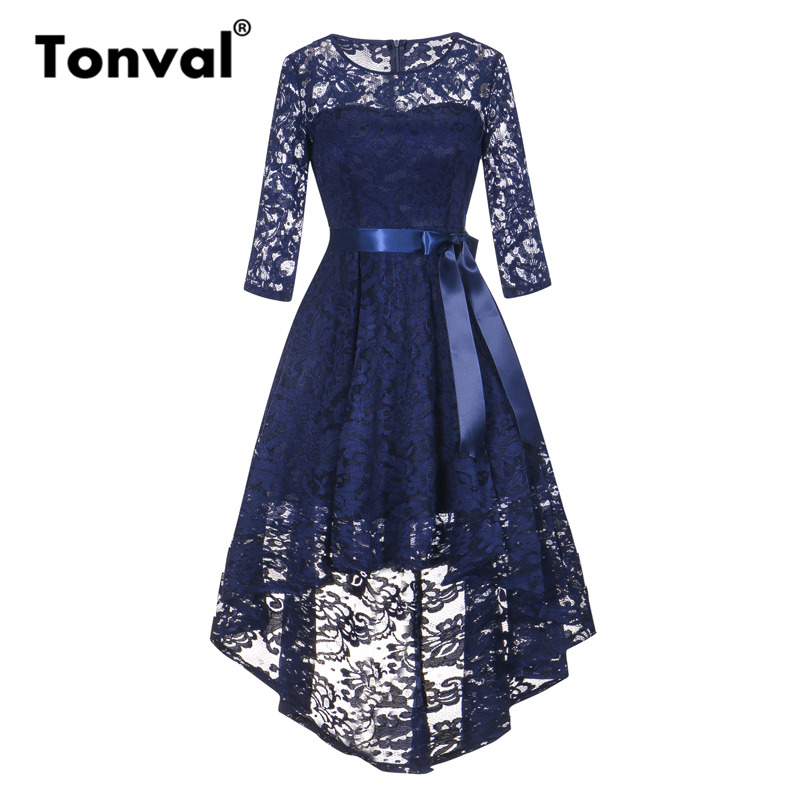 Tonval Vintage Navy Blue Lace Robe Dress Women 2/3 Sleeve High Low Hem Elegant Dresses Party Midi Autumn Dress