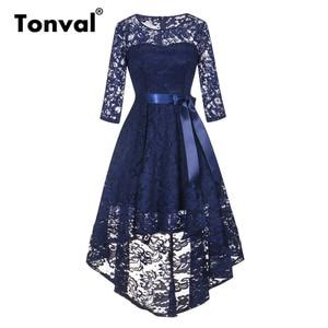 Image 1 - Tonval Vintage Navy Blue Lace Robe Dress Women 2/3 Sleeve High Low Hem Elegant Dresses Party Midi Autumn Dress