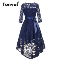 Tonval Vintage Navy Blue Lace Robe Dress Women 2/3 Sleeve High Low Hem Elegant Dresses Party Midi Autumn Dress
