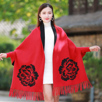 Brand designer Women with sleeve Poncho scarf winter warm cashmere Peony double face Cape tassel Blanket wrapped scarf shawl