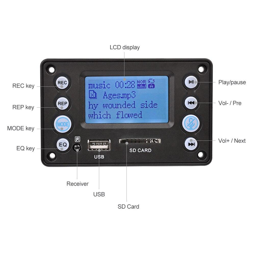 Argento WAV DC12V Bluetooth Audio Decodificatore Board Modulo Audio USB SD TF FM Radio Decodificatore WMA MP3 Senza Perdita