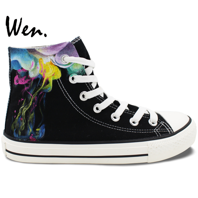 Wen Hand Painted Black Canvas Shoes Design Custom Colorful Smoke Men Women's High Top Canvas Sneakers for Christmas Gifts wen customed hand painted shoes canvas the beatles high top women men s sneakers black daily trip shoes special christmas gifts