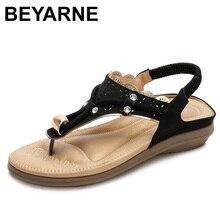 Beyarnesummerサンダルフリップは新ボヘミアフラット女性のカジュアルなビーチサンダルの靴女性のフラット弾性バンド女性ShoeE658