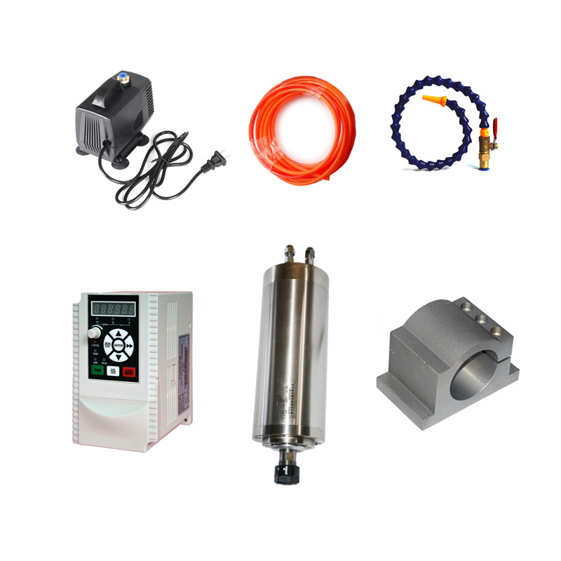 800W CNC Router Spindle Motor ER11 Milling Spindle Kit & 1.5kw VFD 65mm Clamp Water Pump for diy cnc water cooling spindle sets 1pcs 0 8kw er11 220v spindle motor and matching 800w inverter inverter and 65mmmount bracket clamp