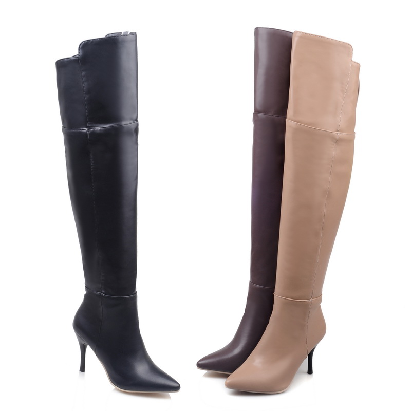 2016 Brand New Sexy Black Brown Beige Women Dress Thigh High Boots Lady Over Knee Shoes Vogue Heels EMT18 Plus Big size 32 45 11