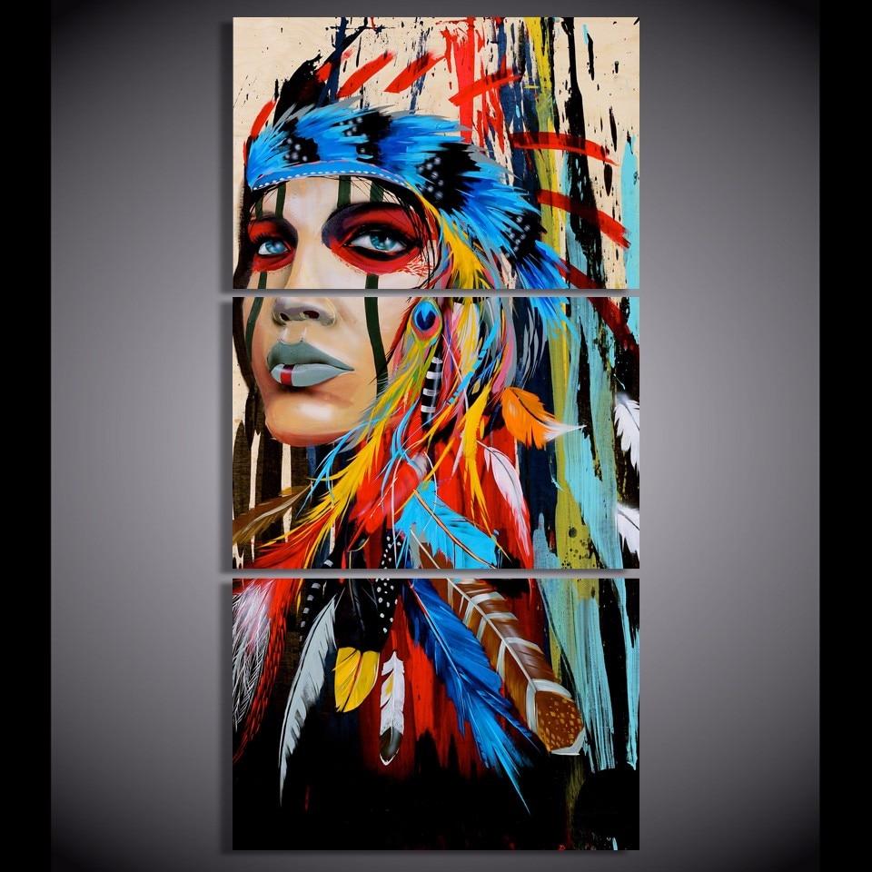 Segeltuch-kunst Modern Home Decor Wandgemälde Frameworks 3 Panel Schönheit Native American Indian Mädchen Gefiederten HD Drucke Poster