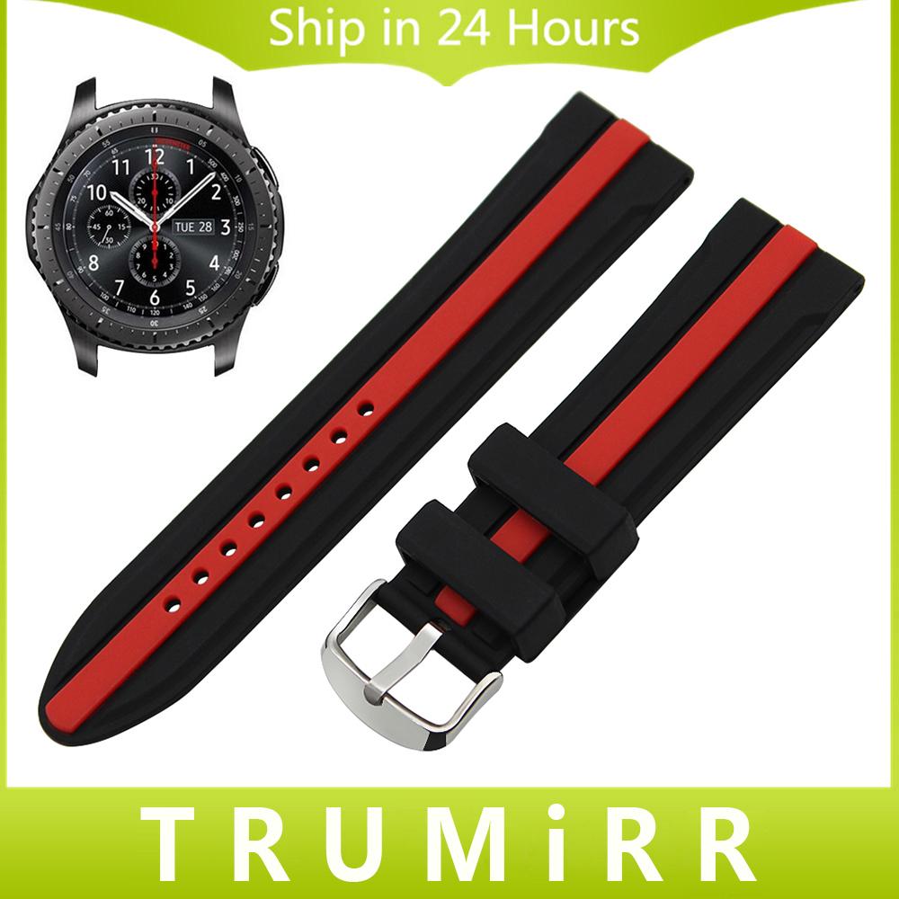 Prix pour 22mm De Silicium En Caoutchouc Bracelet pour Samsung Gear S3 Classique Frontière Montre Bracelet Bande En Acier Inoxydable Boucle Bracelet Noir