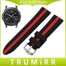 22mm correa de caucho de silicona para samsung gear s3 classic frontera correa de reloj pulsera de acero inoxidable pulsera de la hebilla negro
