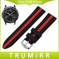 22mm pulseira de borracha de silicone para samsung gear s3 clássico fronteira watch band alça de pulso pulseira fivela de aço inoxidável preto