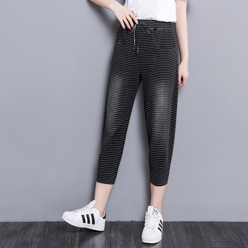 a1ab3328bc0 2018 Spring Summer Fashion Female Pants Drawstring Casual Capris Striped  Harem Pants Elastic Drawstring Women s Trousers