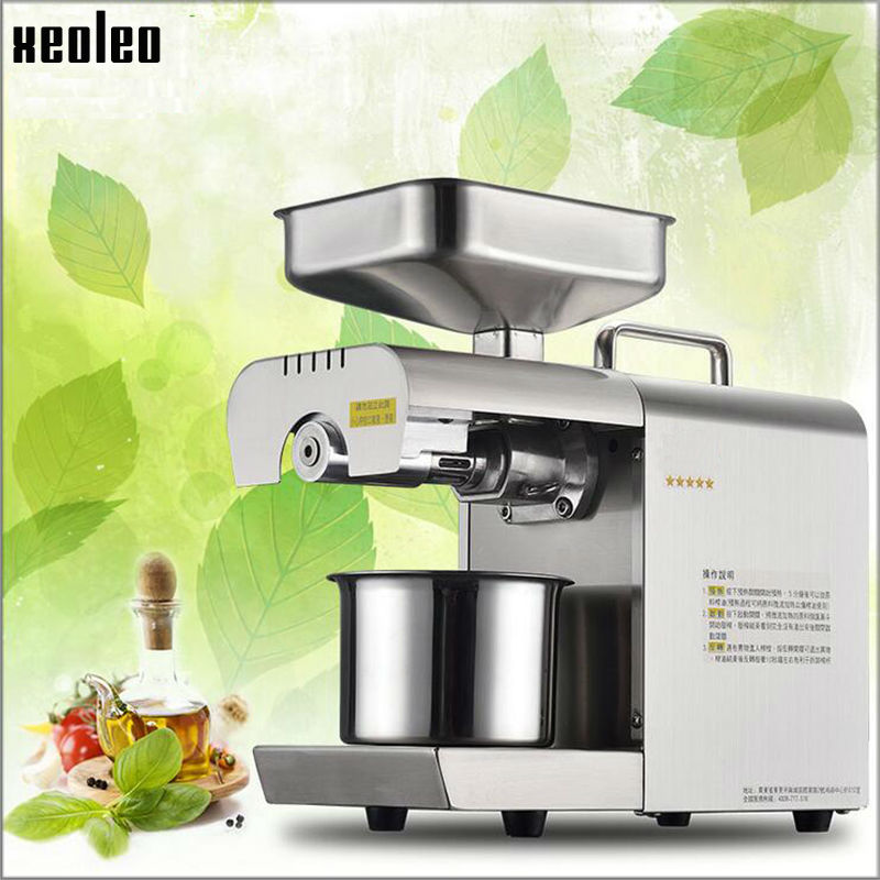 Xeoleo Oil press machine Stainless steel Home use Oil presser for sesame/Melon seeds/Rapeseed/flax/walnut Olives oil presser stainless steel cocoa seeds peeling machine for sale