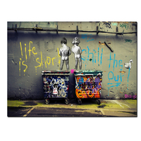 Big Size Banksy Pop Art Graffiti Life Is Short Chill The Duck Out Two Nude Kid