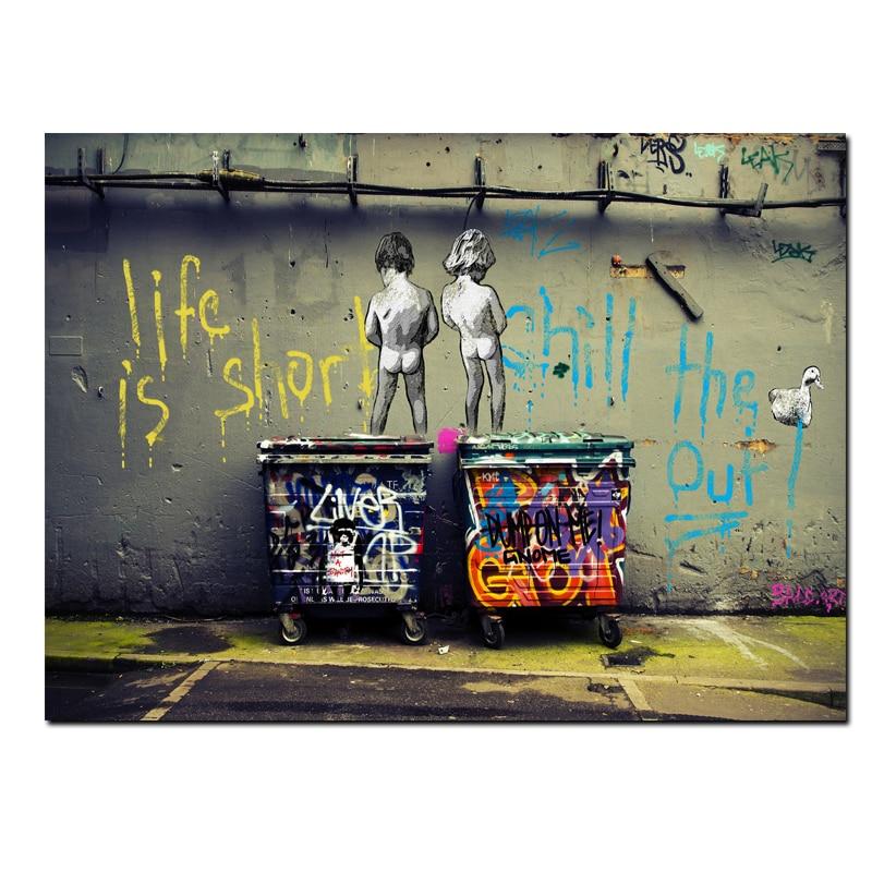 Big Size Astratta Pop Art Graffiti Vita è Breve Freddo the anatra fuori Due Nude Kid Poster Stampa Su Tela Pittura Parete Picute Decor