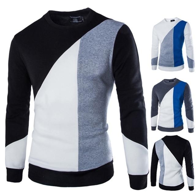 Autumn Winter Irregular Patchwork Fashion Sweatshirt Men Hit Color Long Sleeve Men O Neck Casual Pullover Clothing