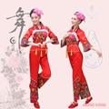 (0128) grupo danceclassical trajes tradicionales Chinos de flores de color rojo bordado traje de la danza ropa yangko fan tambor de la cintura