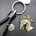 2016 New Weaving leather rope horse head key ring Car Key Ring Car Key Pendant Key Chain Creative Gifts