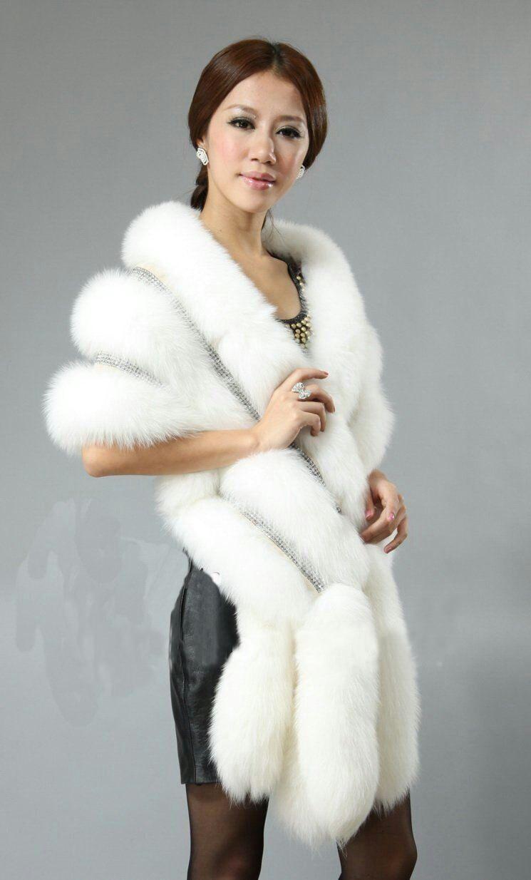 Fourrure Blanc Luxe En Châle Queue Diamant De Poncho L'hiver Wrap Renard Partie SZ6w0x4