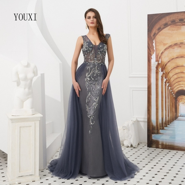 Luxury Grey Mermaid Evening Dresses 2019 New Sexy Burgundy Beaded Beading Crystal Long Evening Formal Prom Gowns
