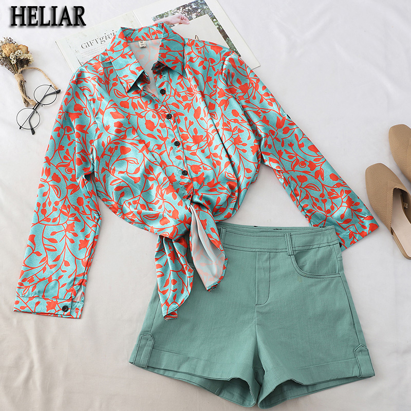 HELIAR Two-piece Sets Women Autumn Irregular Lapel Print Long Sleeve Shirt And High Waist Wide Leg Denim Shorts Suits For Women