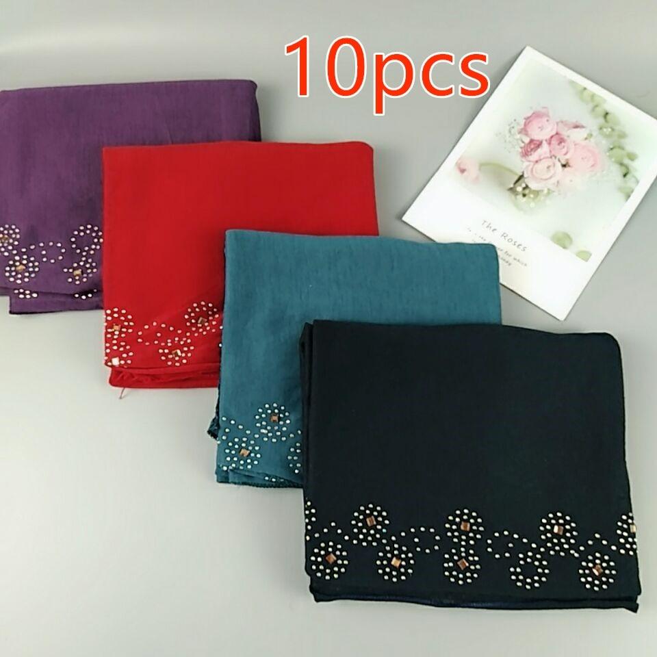 C2 10PCS High quality flower bead rainstone Jersey shawl hijab women   scarves     scarf     wrap   headband 180*80cm