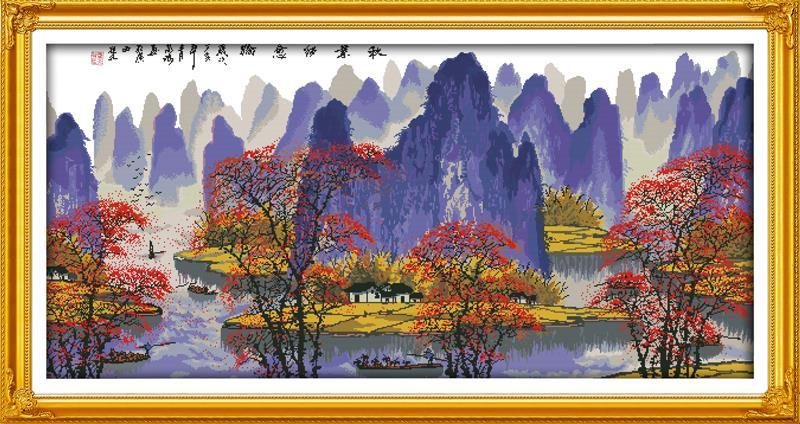 Les feuilles d'automne et Li river 11CT broderies DMC compté Kits de point de croix ensembles pour broderie aiguilles à tricoter artisanat