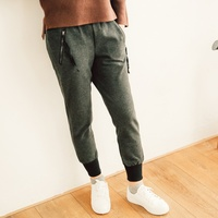 2017 New Mori Girl Autumn And Winter Woolen Skinny Pants Female Trousers All Match Casual Harem