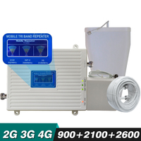 Voice+2G 3G 4G Tri Band Signal Booster GSM 900 UMTS WCDMA 2100 FDD LTE 2600 Cell Phone Signal Repeater Mobile Cellular Amplifier