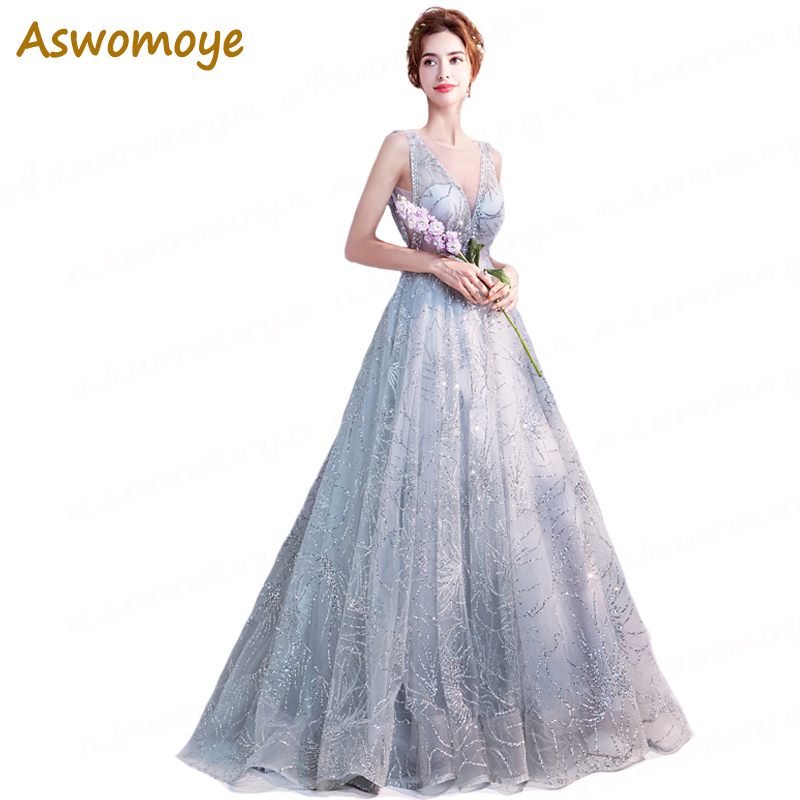 Aswomoye Sexy A-Line   Evening     Dress   2018 New Arrival Applique Sequin Sleeveless Silver Party   Dress   V-neck Backless robe de soiree