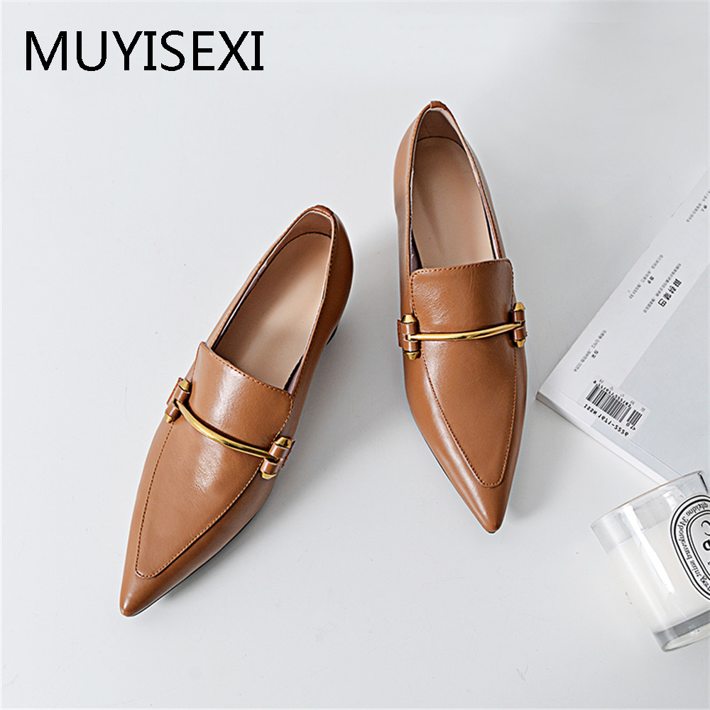 Superstar Genuine Leather Pointed Toe With Metal 5 Cm High Heels Women Pumps Runway Elegant Office Shoes Plus Size PL08 MUYISEXI