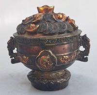 Pot of gold bullions brass statue Pot with dragon Copper plated gold sculpture metal crafts Feng Shui Home crafts collection