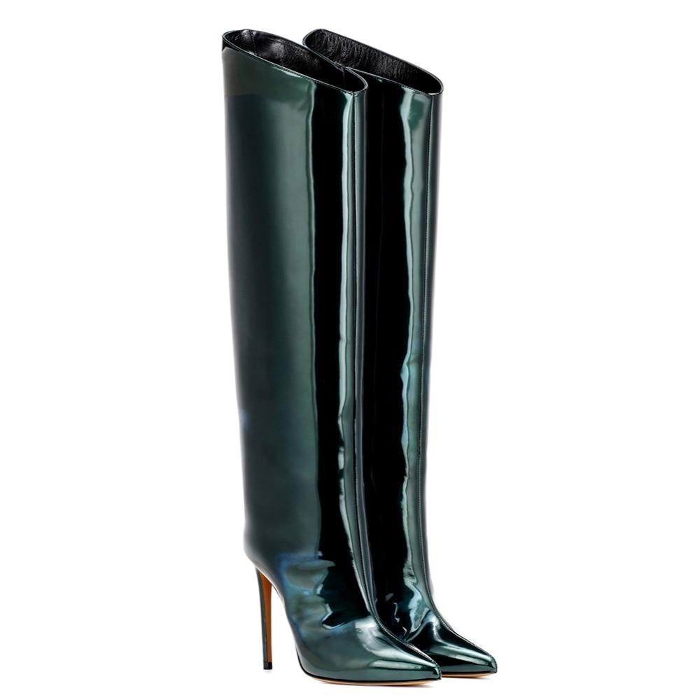 Toe Señalaron Ocasional Invierno Tacón Señoras Brillante De Zapatos Alto Moda Mujer Aiyoway Cremallera Verde Botas Rodilla Completo Charol Iqxtwfp6