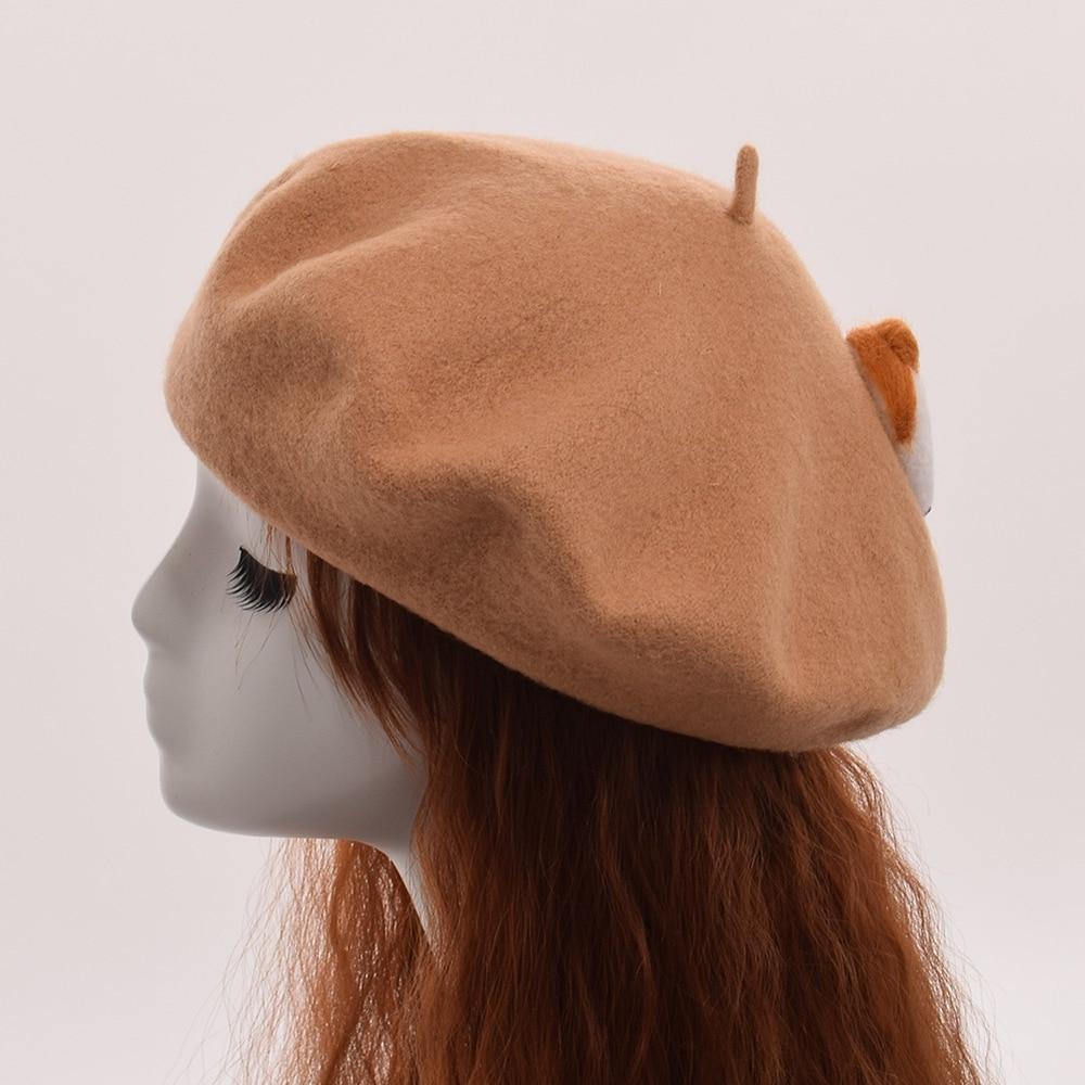 Girls cute beret cartoon cat butt wool blend cap beanie women top hat