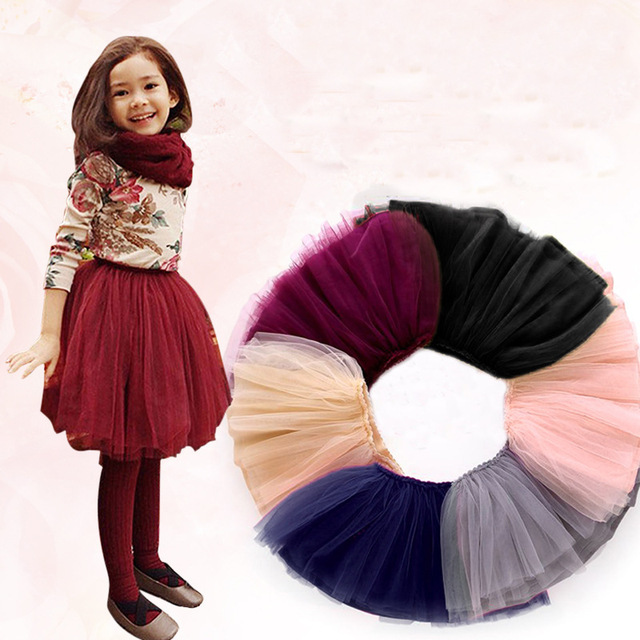 Different Colors Double Layers Girls Skirt Solid Spring/Autumn Baby Girls Ball Gown Skirt 2-14T Children Mesh Lace Skirt Girls