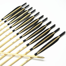 12pcs Handmade 33″ black colorful Turkey feathers Featured Wooden Arrows with Copper Point for Shooting Recurve bow