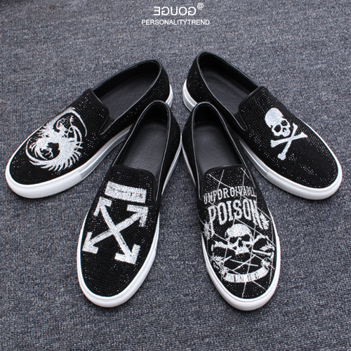 Skull Rhinestone Men Flat Shoes Suede Genuine Leather Handmade Man Casual Shoes Outdoor Slip on Spring Flat Shoes Black Loafers