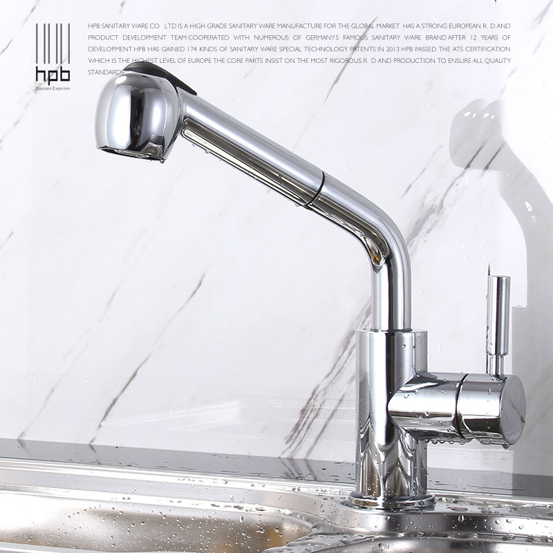 HPB Pull out Spray Kitchen Chrome Brass Swivel Faucet Spout Sink Mixer Tap Deck Mounted Hot And Cold Water Single Handle HP4102 good quality wholesale and retail chrome finished pull out spring kitchen faucet swivel spout vessel sink mixer tap lk 9907