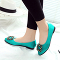 2017 Spring Ladies Fashion Rhinestone Pointed Toe Flat Shoes Women Flats Loafers Slip On Shoes Casual Satin Womens Shoes O2194