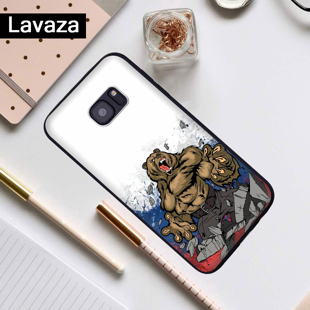 Lavaza the Flag of Russian bear eagle Silicone Case for Samsung S6 Edge S7 S8 Plus S9 S10 Note 8 9 10 M10 M20 M30 M40 in Fitted Cases from Cellphones Telecommunications
