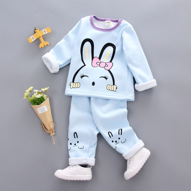 2018 arrival kids pajama sets 1- 3Y baby girl cotton pajamas winter Warm Underwear Thermal Clothes thicken children clothing