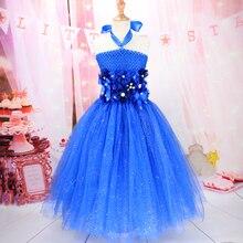 b8b955be27f7d5 Luxe zacht nylon handgemaakte tutu jurk voor baby meisjes koningsblauw  prinses verjaardag foto maken pluizige tutu jurk kleding