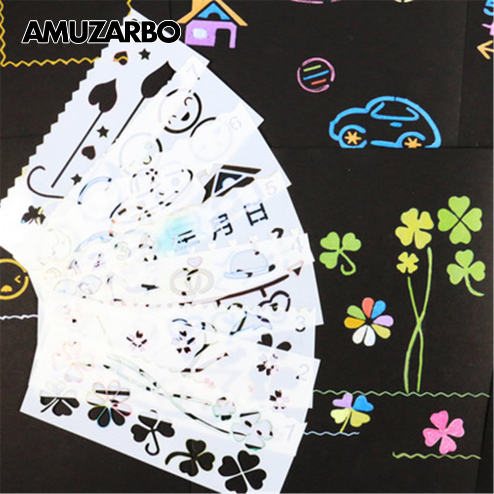 8pcs Four-leaf Clover Numbers Painting Stencil For Kids DIY Album Hand Book Scrapbooking Template Ruler Children's Drawing Board