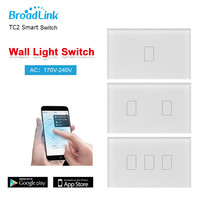 Original US Wifi Broadlink TC2 1Gang 2Gang 3Gang Wireless Remote Control Tempered Glass Touch Wall Light