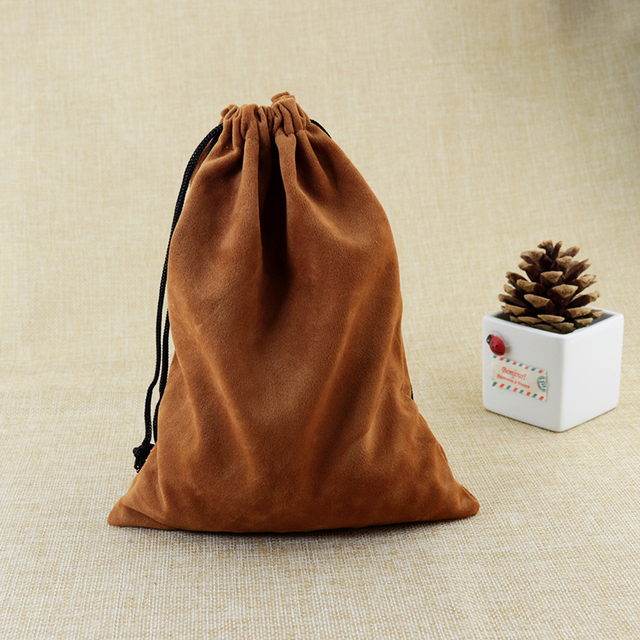Jewelry Organizer Gift Bags For Jewellery Packaging Large 20pcs 15x20cm Brown Velvet Drawstring Factory