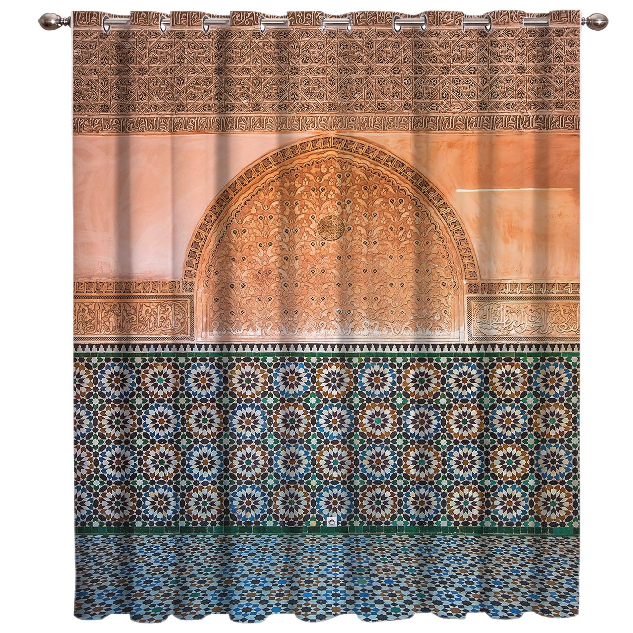 Vintage marroquí geométrica controles cortinas de tratamiento de ventanas cenefa ventana persianas cortinas de baño cocina dormitorio 3x2,9 m cuerda cortina Flash línea brillante borla cuerdas puerta ventana Decorective divisor cortina purpurina cenefa decoración del hogar