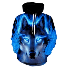 New Mens Wolf Animal 3D Print Hoodie Design Sports Casual