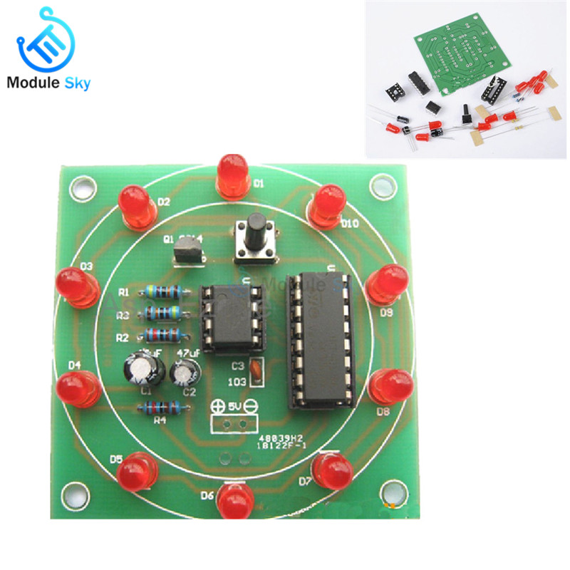 Lucky Rotary Suite Electronic Suite CD4017 NE555 Self  DIY LED Light Kits Production Parts And ComponentsLucky Rotary Suite Electronic Suite CD4017 NE555 Self  DIY LED Light Kits Production Parts And Components