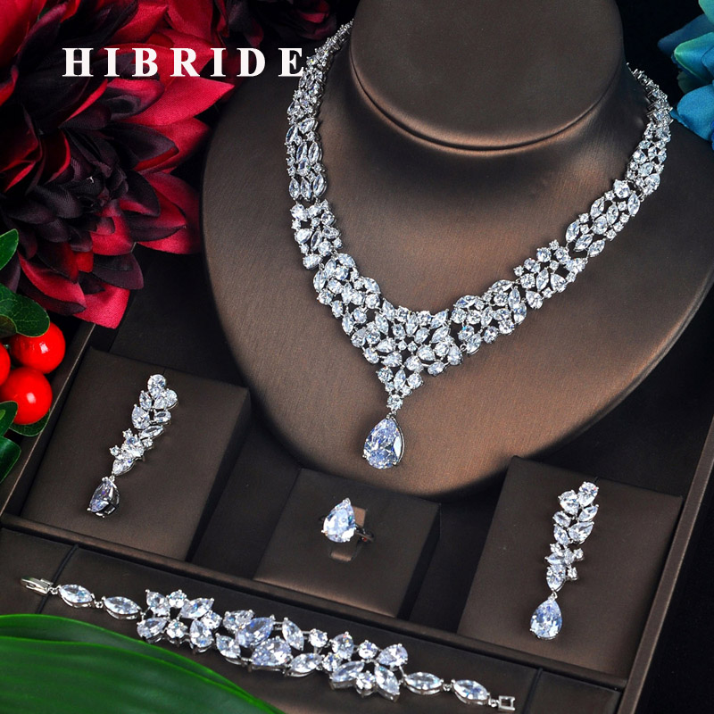 HIBRIDE Luxury Clear Cubic Zircon Pendientes Wedding Jewelry Set 4 PCS Earring Bracelet Necklace Ring Brincos