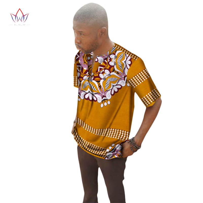 2017 Traditional <font><b>African</b></font> Clothing Print <font><b>Wax</b></font> T-<font><b>shirt</b></font> <font><b>Men</b></font> Short Sleeve Print <font><b>Men</b></font> Dashiki V-Neck Tops Hot Sale BRW WYN162 image